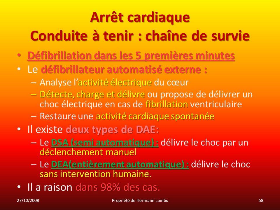 Arrêt cardiaque Conduite à tenir : chaîne de survie Défibrillation dans les 5 premières minutes Défibrillation dans les 5 premières minutes défibrilla