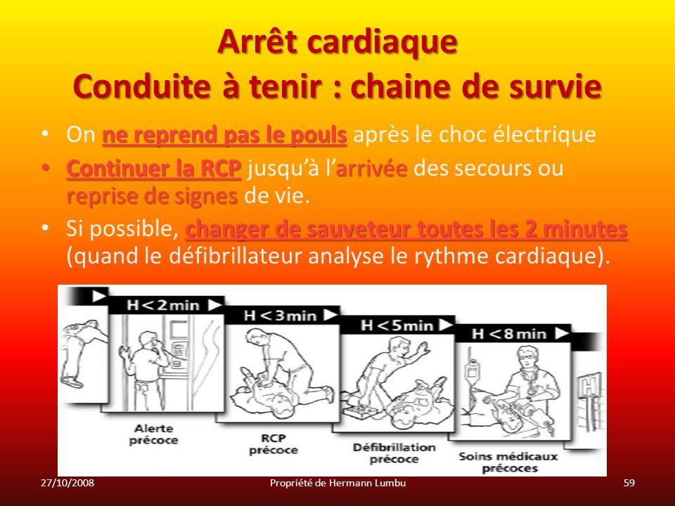 Arrêt cardiaque Conduite à tenir : chaine de survie ne reprend pas le pouls On ne reprend pas le pouls après le choc électrique Continuer la RCParrivé