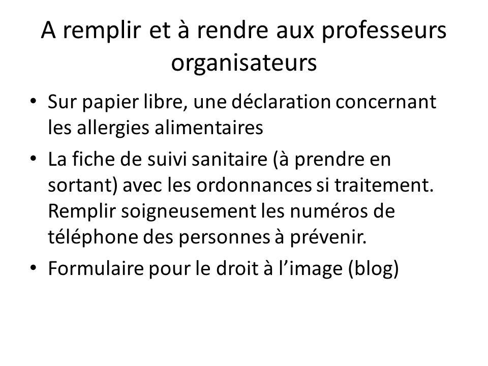 A remplir et à rendre aux professeurs organisateurs Sur papier libre, une déclaration concernant les allergies alimentaires La fiche de suivi sanitair