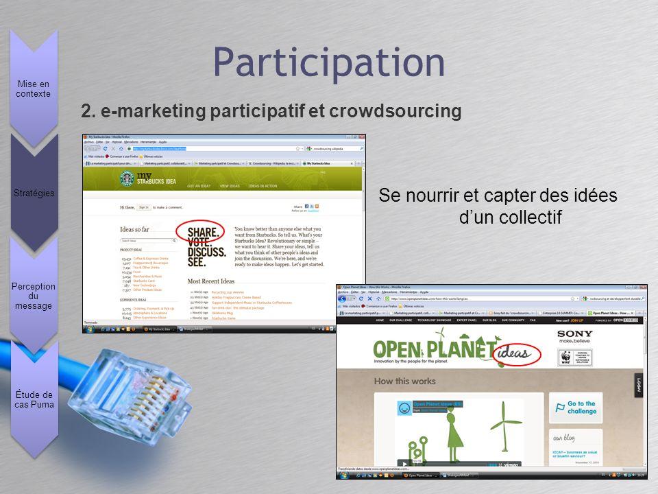 Se nourrir et capter des idées dun collectif 2. e-marketing participatif et crowdsourcing Mise en contexte Stratégies Perception du message Étude de c