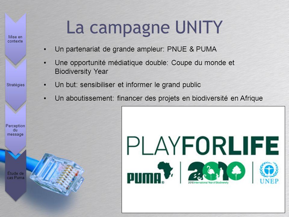 Un partenariat de grande ampleur: PNUE & PUMA Une opportunité médiatique double: Coupe du monde et Biodiversity Year Un but: sensibiliser et informer