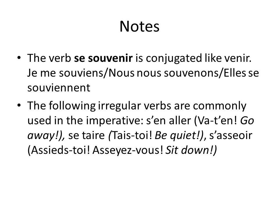 Notes The verb se souvenir is conjugated like venir.
