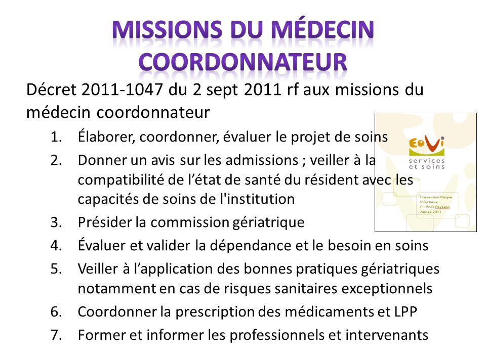 Décret 2011-1047 du 2 sept 2011 rf aux missions du médecin coordonnateur 1.Élaborer, coordonner, évaluer le projet de soins 2.Donner un avis sur les a