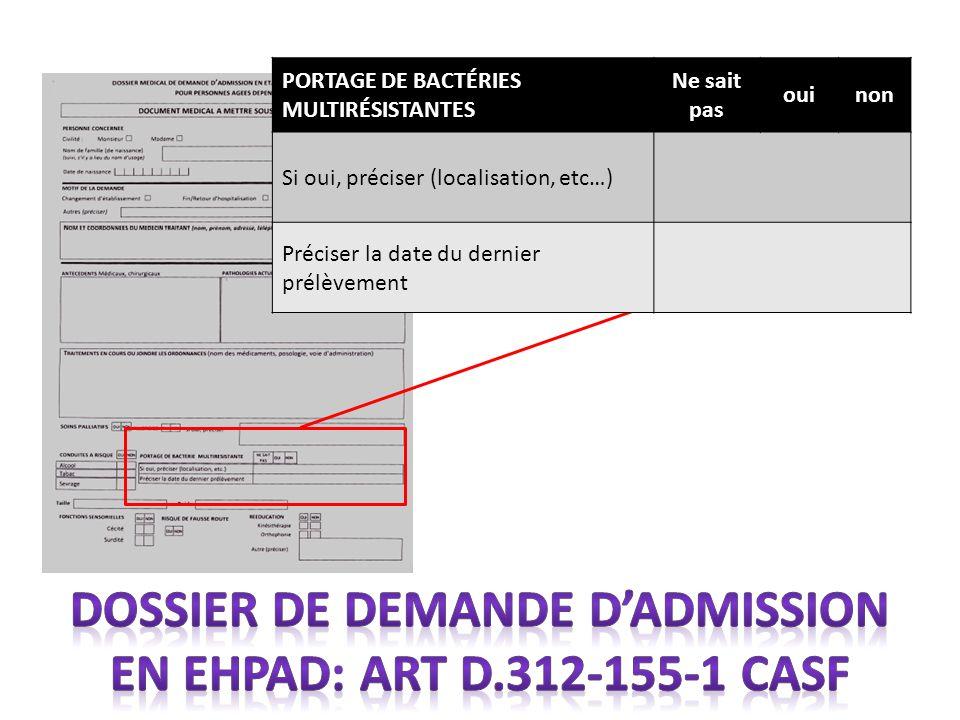 PORTAGE DE BACTÉRIES MULTIRÉSISTANTES Ne sait pas ouinon Si oui, préciser (localisation, etc…) Préciser la date du dernier prélèvement
