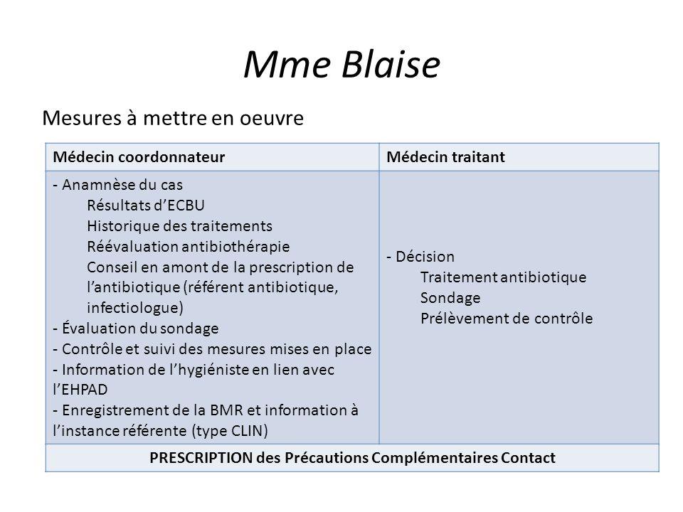 Mme Blaise Mesures à mettre en oeuvre Médecin coordonnateurMédecin traitant - Anamnèse du cas Résultats dECBU Historique des traitements Réévaluation