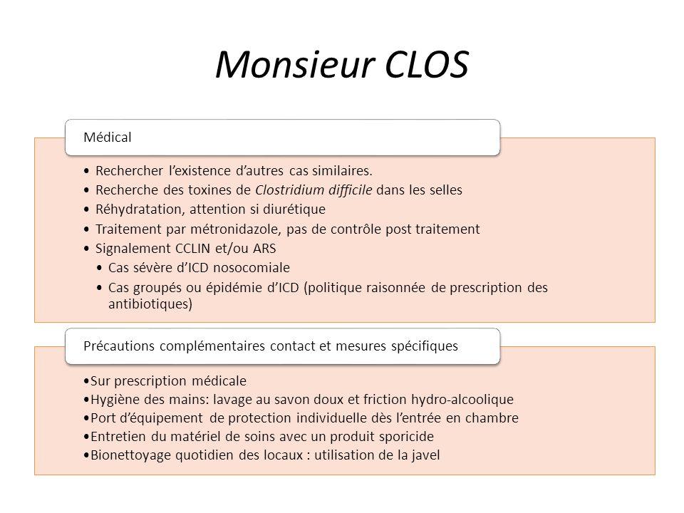 Monsieur CLOS Rechercher lexistence dautres cas similaires. Recherche des toxines de Clostridium difficile dans les selles Réhydratation, attention si