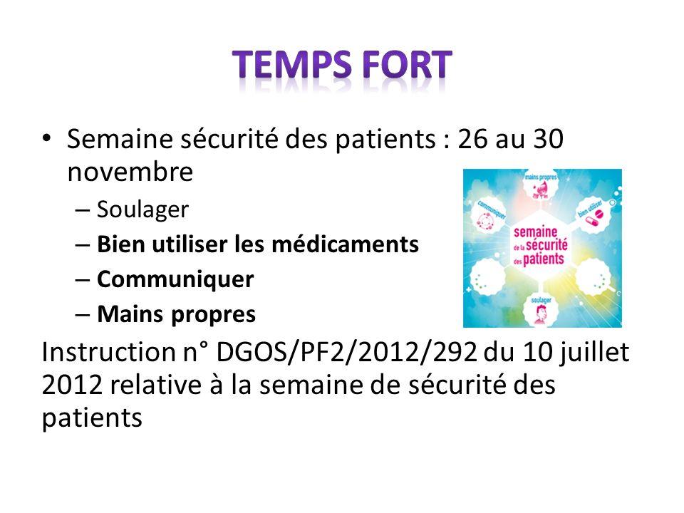 Semaine sécurité des patients : 26 au 30 novembre – Soulager – Bien utiliser les médicaments – Communiquer – Mains propres Instruction n° DGOS/PF2/201