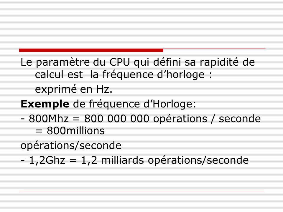 Le paramètre du CPU qui défini sa rapidité de calcul est la fréquence dhorloge : exprimé en Hz. Exemple de fréquence dHorloge: - 800Mhz = 800 000 000