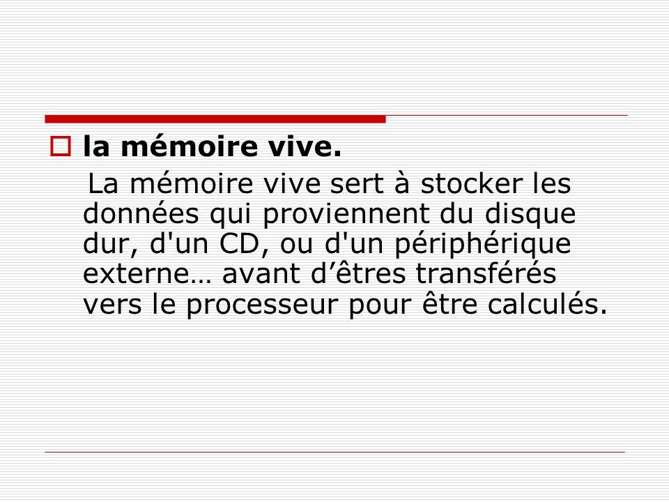 la mémoire vive. La mémoire vive sert à stocker les données qui proviennent du disque dur, d'un CD, ou d'un périphérique externe… avant dêtres transfé