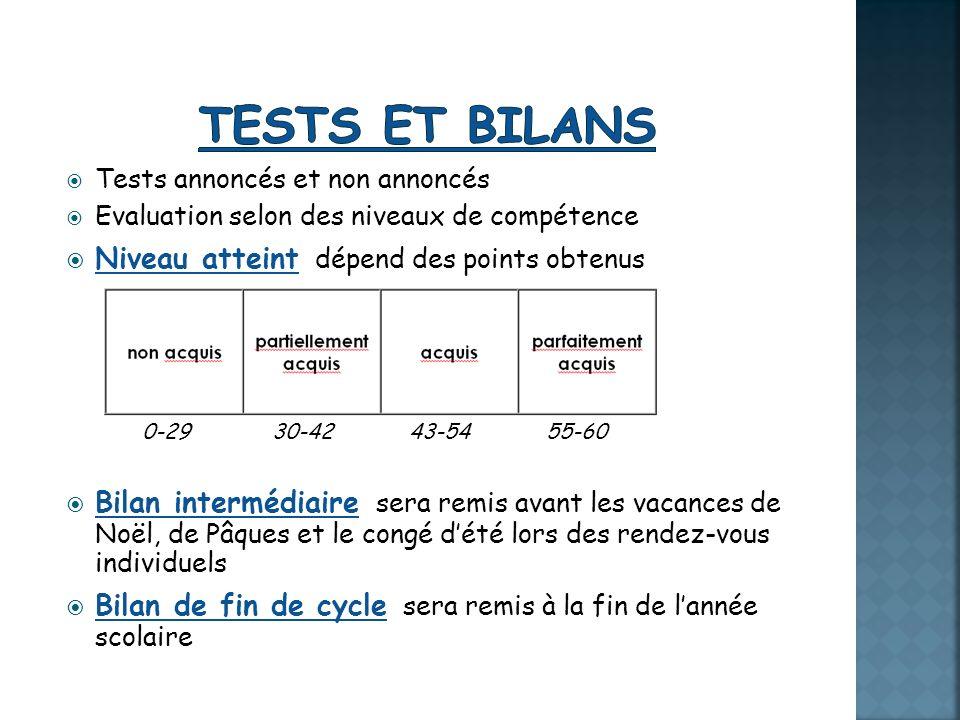 Tests annoncés et non annoncés Evaluation selon des niveaux de compétence Niveau atteint dépend des points obtenus 0-29 30-42 43-54 55-60 Bilan interm