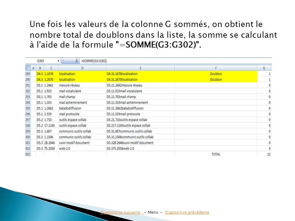 Une fois les valeurs de la colonne G sommés, on obtient le nombre total de doublons dans la liste, la somme se calculant à l'aide de la formule