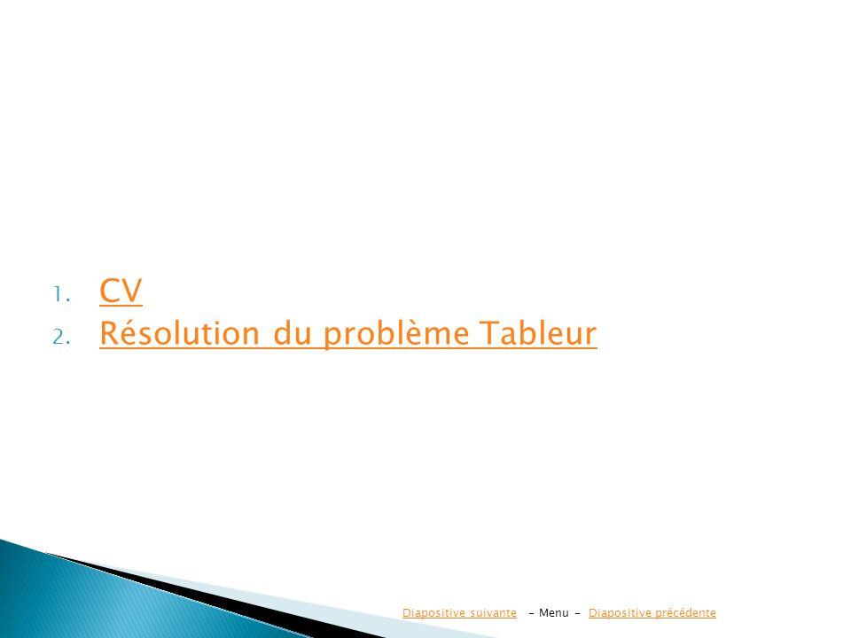 1. CV CV 2. Résolution du problème Tableur Résolution du problème Tableur Diapositive suivanteDiapositive suivante - Menu - Diapositive précédenteDiap