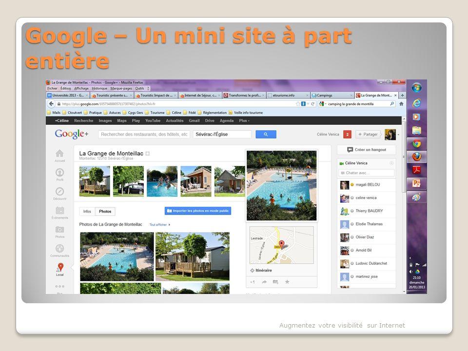 Google – Un mini site à part entière Augmentez votre visibilité sur Internet