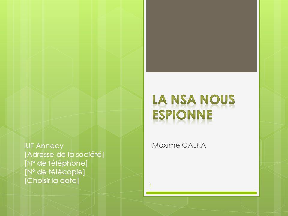 Maxime CALKA IUT Annecy [Adresse de la société] [N° de téléphone] [N° de télécopie] [Choisir la date] 1