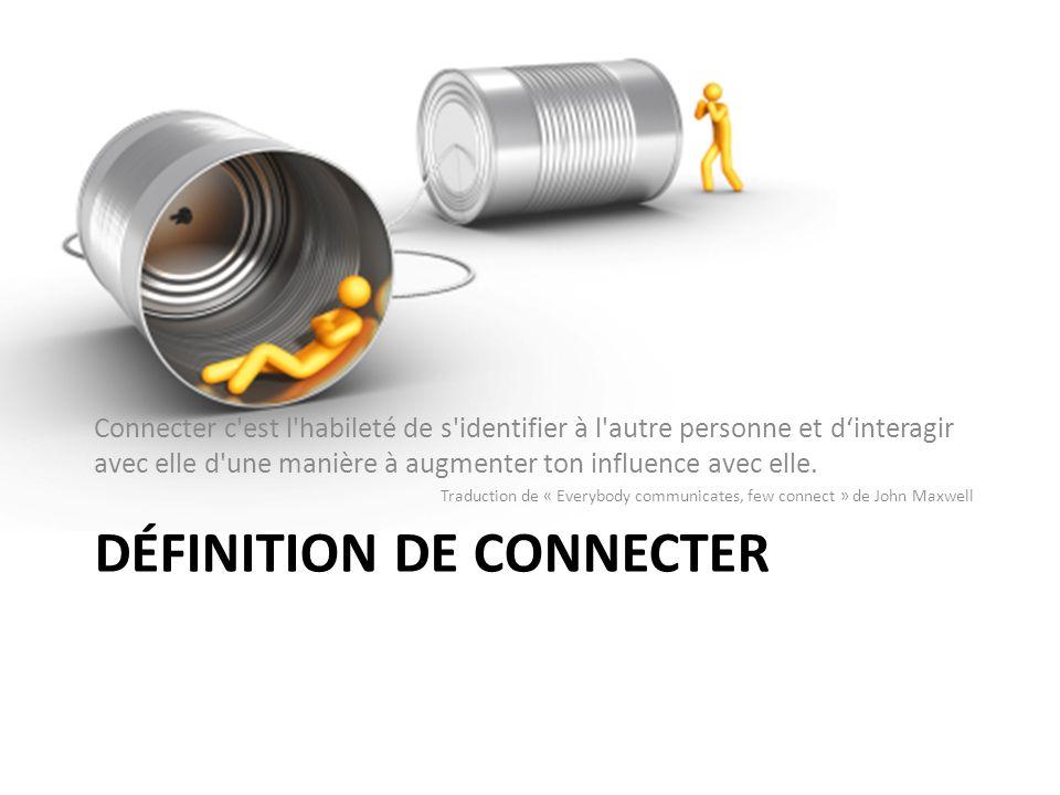 DÉFINITION DE CONNECTER Connecter c est l habileté de s identifier à l autre personne et dinteragir avec elle d une manière à augmenter ton influence avec elle.