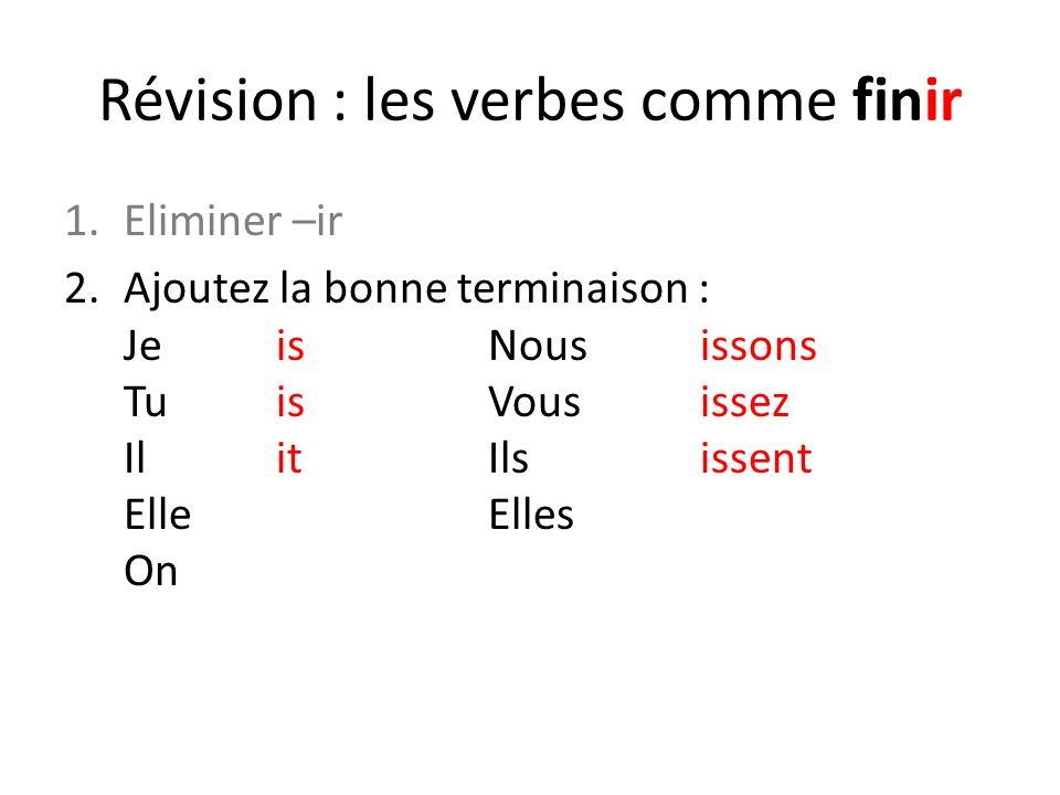 Révision : les verbes comme finir 1.Eliminer –ir 2.Ajoutez la bonne terminaison : JeisNousissons TuisVousissez IlitIlsissent ElleElles On 3.Résultat : je finis ; vous finissez ; etc.