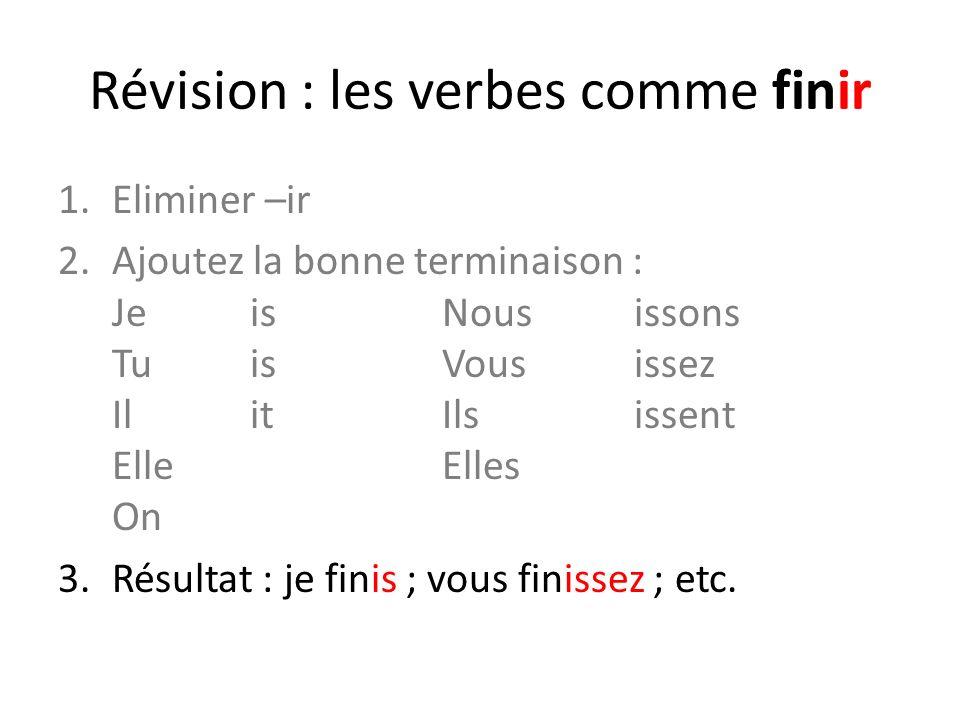 Révision : les verbes comme finir 1.Eliminer –ir 2.Ajoutez la bonne terminaison : JeisNousissons TuisVousissez IlitIlsissent ElleElles On 3.Résultat :