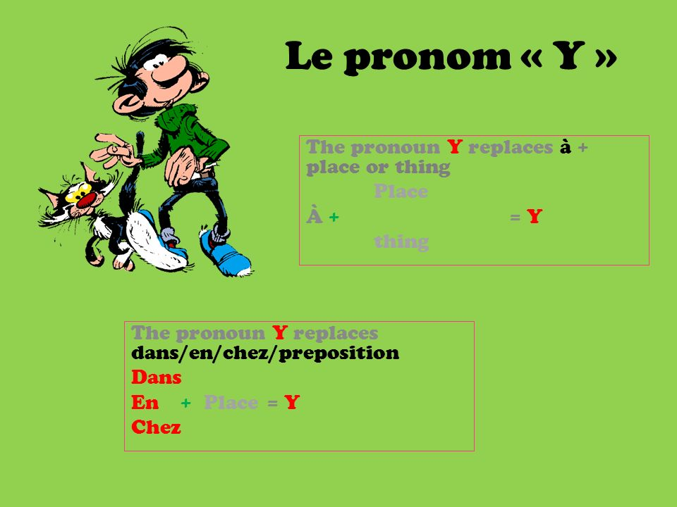 Le pronom « Y » The pronoun Y replaces à + place or thing Place À += Y thing The pronoun Y replaces dans/en/chez/preposition Dans En + Place = Y Chez