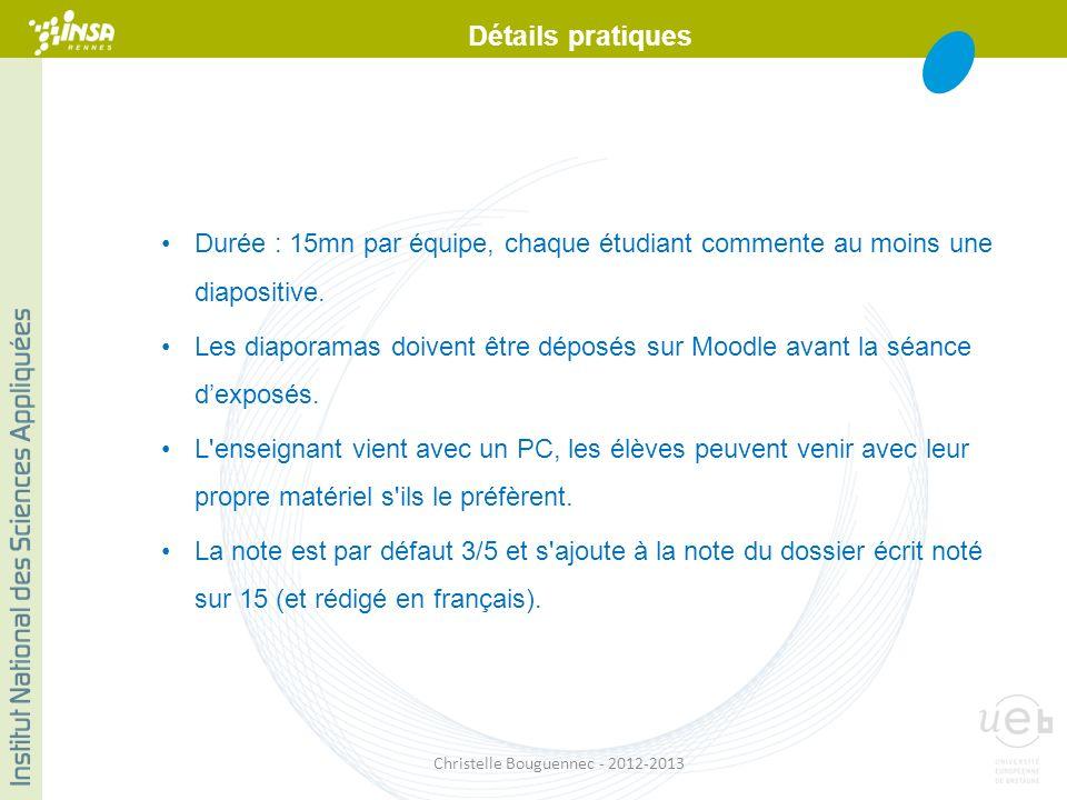 Durée : 15mn par équipe, chaque étudiant commente au moins une diapositive. Les diaporamas doivent être déposés sur Moodle avant la séance dexposés. L