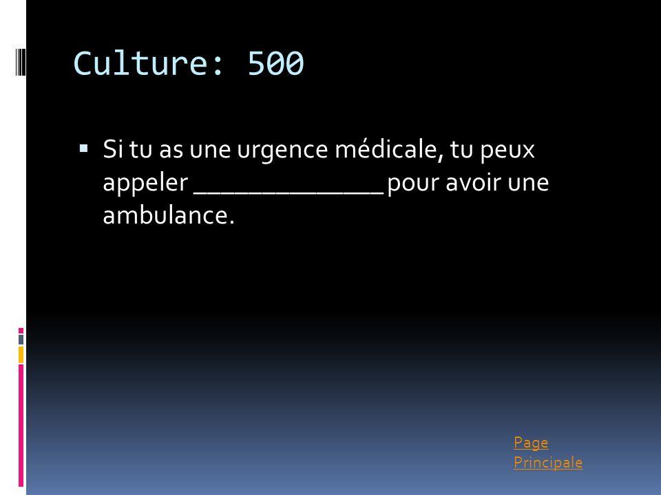Page Principale Culture: 500 Si tu as une urgence médicale, tu peux appeler ______________ pour avoir une ambulance.