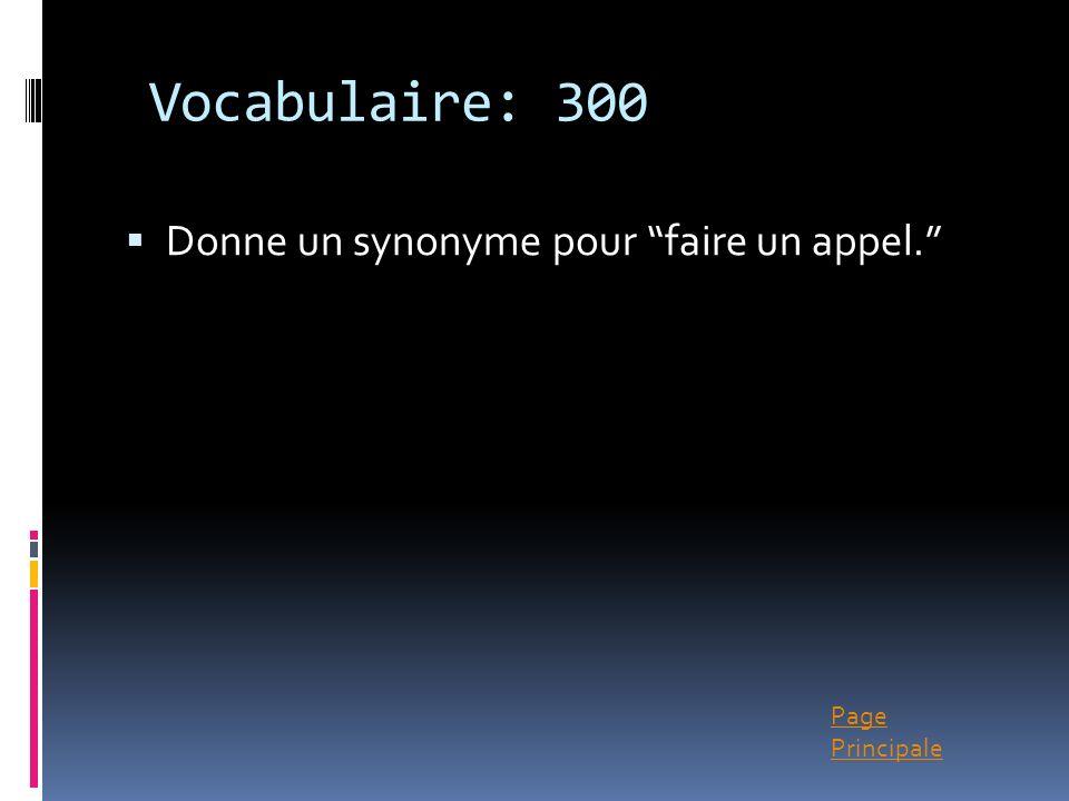Page Principale Vocabulaire: 300 Donne un synonyme pour faire un appel.