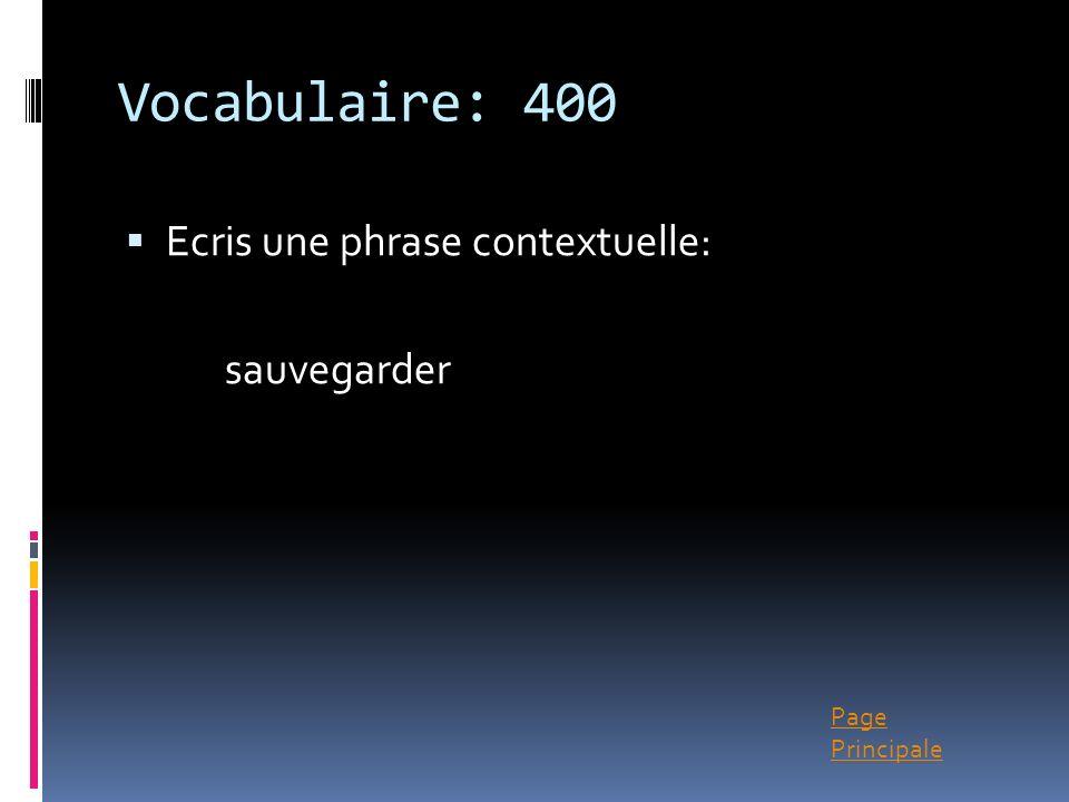 Page Principale Vocabulaire: 400 Ecris une phrase contextuelle: sauvegarder