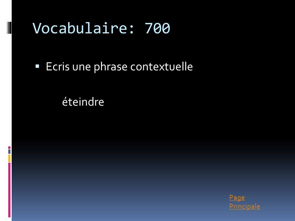 Page Principale Vocabulaire: 700 Ecris une phrase contextuelle éteindre