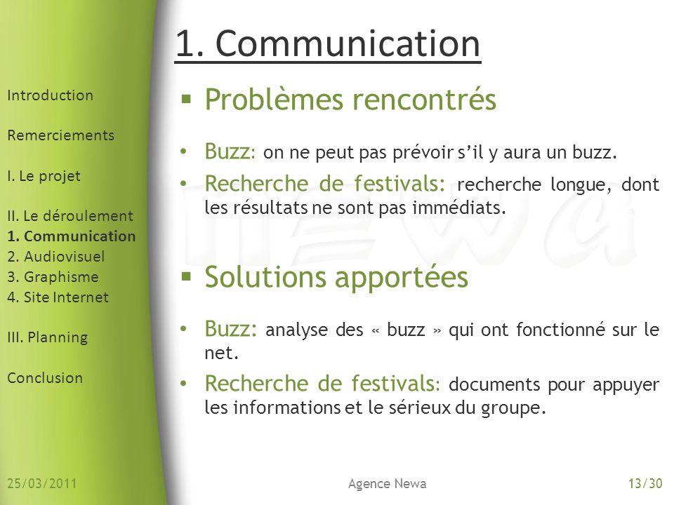 Introduction Remerciements I. Le projet II. Le déroulement 1. Communication 2. Audiovisuel 3. Graphisme 4. Site Internet III. Planning Conclusion Prob