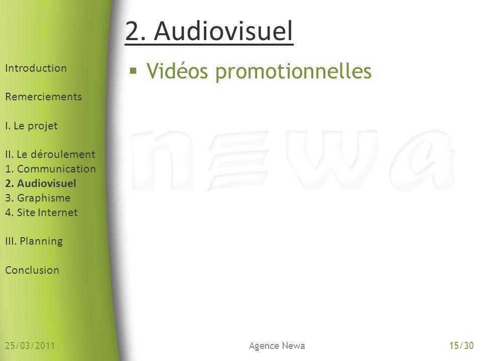 Introduction Remerciements I. Le projet II. Le déroulement 1. Communication 2. Audiovisuel 3. Graphisme 4. Site Internet III. Planning Conclusion Vidé