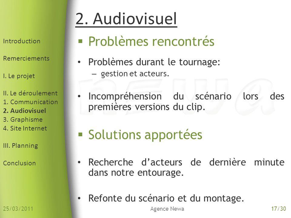 2. Audiovisuel Introduction Remerciements I. Le projet II. Le déroulement 1. Communication 2. Audiovisuel 3. Graphisme 4. Site Internet III. Planning