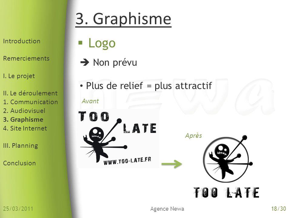Introduction Remerciements I. Le projet II. Le déroulement 1. Communication 2. Audiovisuel 3. Graphisme 4. Site Internet III. Planning Conclusion Logo