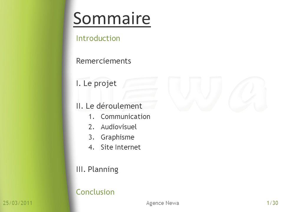 Introduction Remerciements I. Le projet II. Le déroulement 1.Communication 2.Audiovisuel 3.Graphisme 4.Site Internet III. Planning Conclusion Sommaire