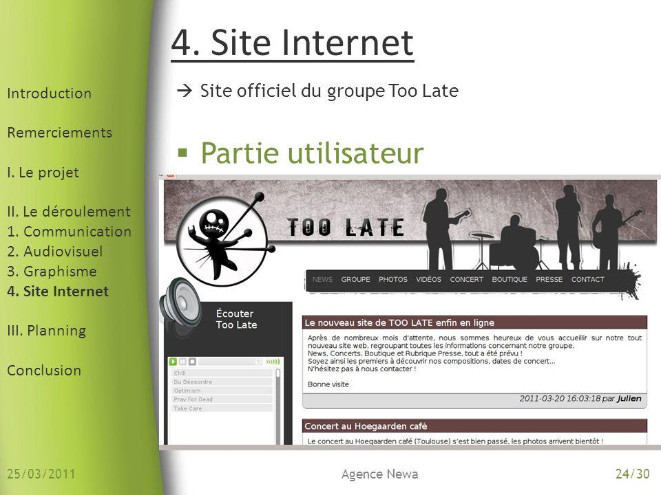 Introduction Remerciements I. Le projet II. Le déroulement 1. Communication 2. Audiovisuel 3. Graphisme 4. Site Internet III. Planning Conclusion Site