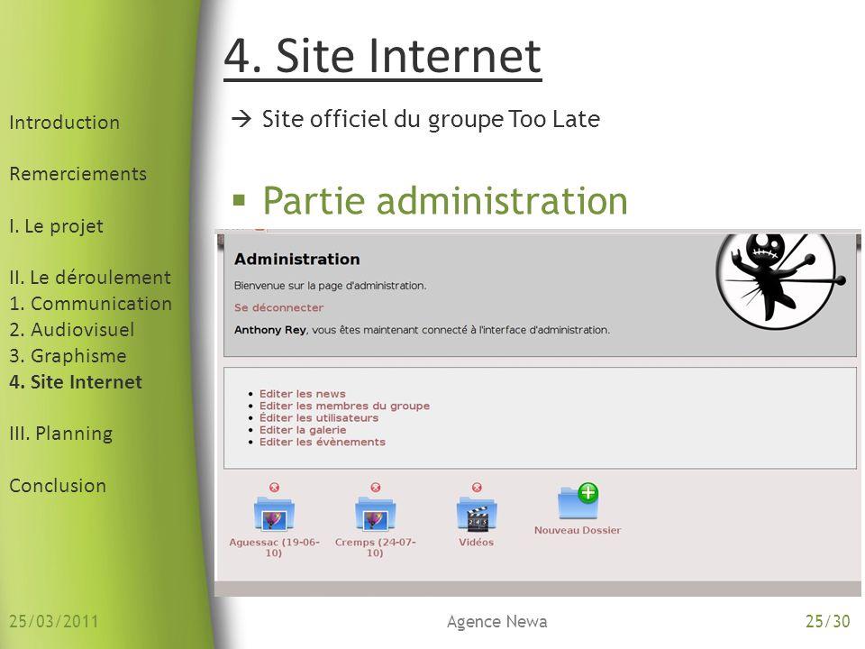 4. Site Internet Introduction Remerciements I. Le projet II. Le déroulement 1. Communication 2. Audiovisuel 3. Graphisme 4. Site Internet III. Plannin
