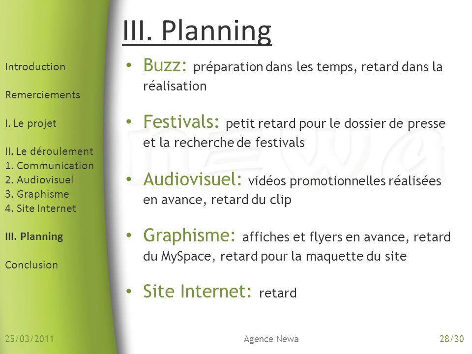 Introduction Remerciements I. Le projet II. Le déroulement 1. Communication 2. Audiovisuel 3. Graphisme 4. Site Internet III. Planning Conclusion III.