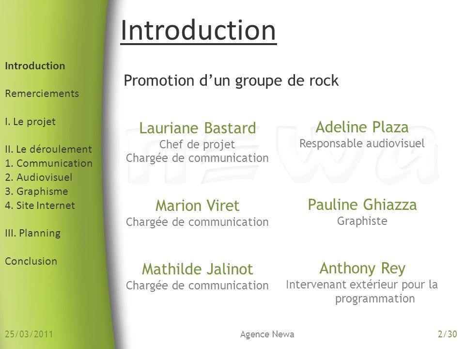 Introduction Remerciements I.Le projet II. Le déroulement 1.