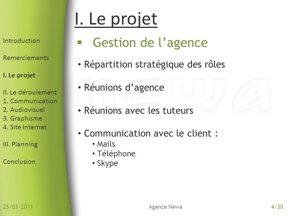 4.Site Internet Introduction Remerciements I. Le projet II.