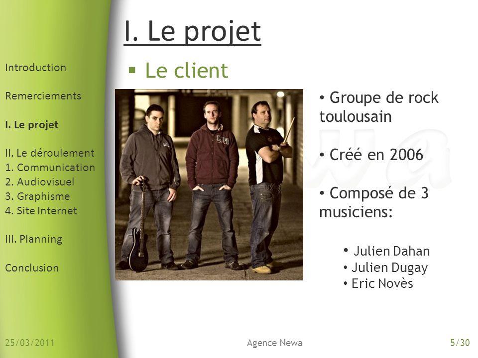 Le client I. Le projet Groupe de rock toulousain Créé en 2006 Composé de 3 musiciens: Julien Dahan Julien Dugay Eric Novès Introduction Remerciements