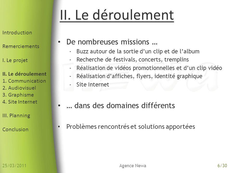 2.Audiovisuel Introduction Remerciements I. Le projet II.