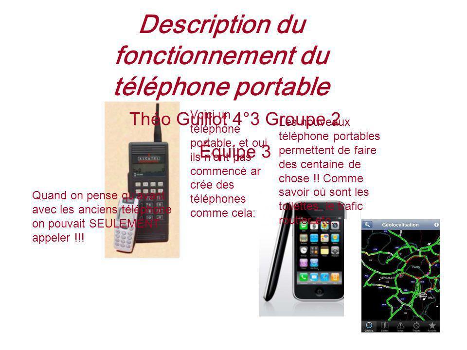 Description du fonctionnement du téléphone portable Voici un téléphone portable, et oui ils nont pas commencé ar crée des téléphones comme cela: Les n