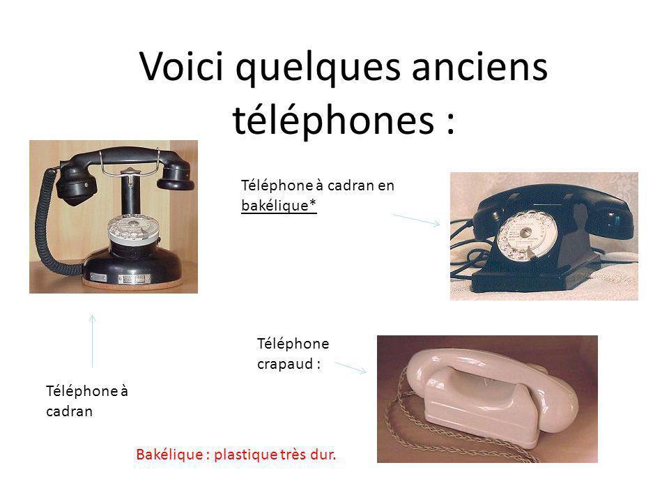 Voici quelques anciens téléphones : Téléphone à cadran Téléphone à cadran en bakélique* Téléphone crapaud : Bakélique : plastique très dur.