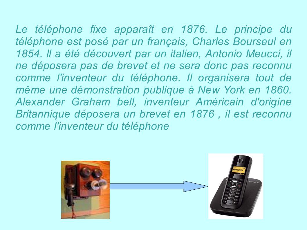 Le téléphone fixe apparaît en 1876. Le principe du téléphone est posé par un français, Charles Bourseul en 1854. ll a été découvert par un italien, An