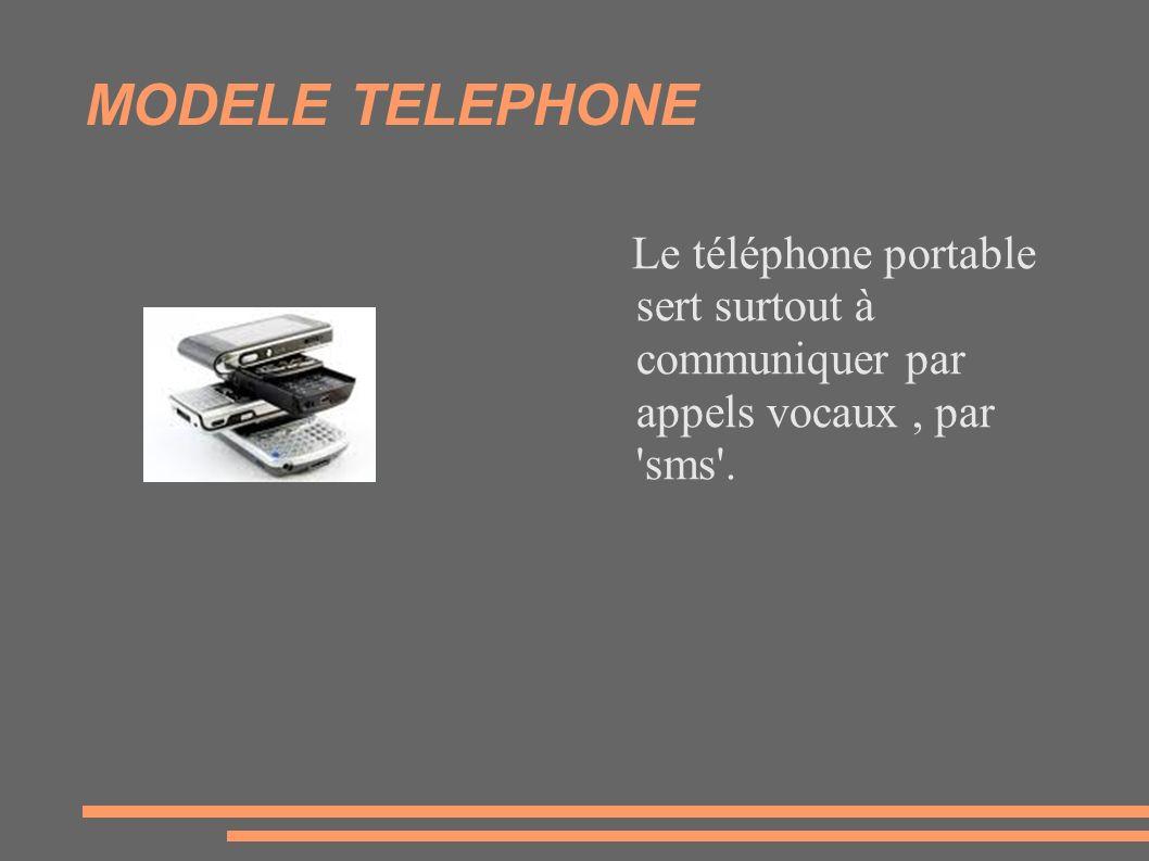 MODELE TELEPHONE Le téléphone portable sert surtout à communiquer par appels vocaux, par 'sms'.