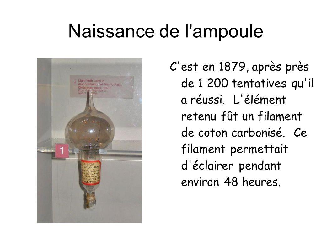 Naissance de l'ampoule C'est en 1879, après près de 1 200 tentatives qu'il a réussi. L'élément retenu fût un filament de coton carbonisé. Ce filament