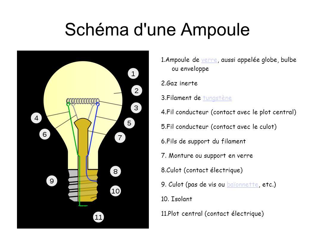 Schéma d'une Ampoule 1.Ampoule de verre, aussi appelée globe, bulbe ou enveloppeverre 2.Gaz inerte 3.Filament de tungstènetungstène 4.Fil conducteur (