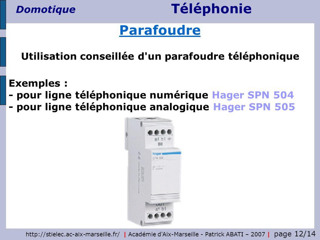 Téléphonie Domotique http://stielec.ac-aix-marseille.fr/   Académie d'Aix-Marseille - Patrick ABATI – 2007   page 12/14 Utilisation conseillée d'un pa