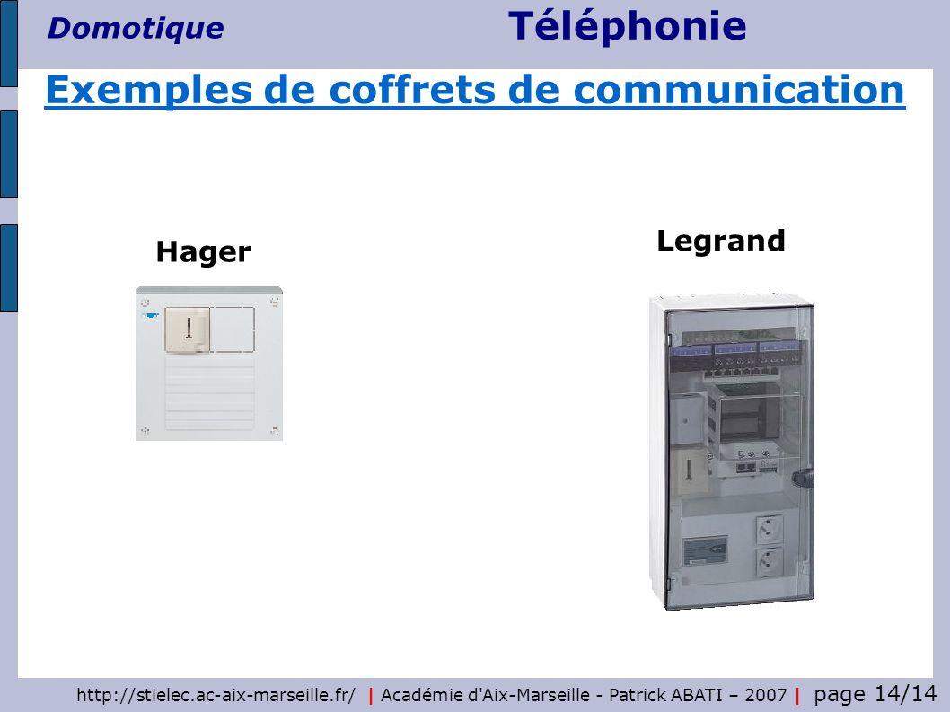 Téléphonie Domotique http://stielec.ac-aix-marseille.fr/   Académie d'Aix-Marseille - Patrick ABATI – 2007   page 14/14 Hager Legrand Exemples de coff