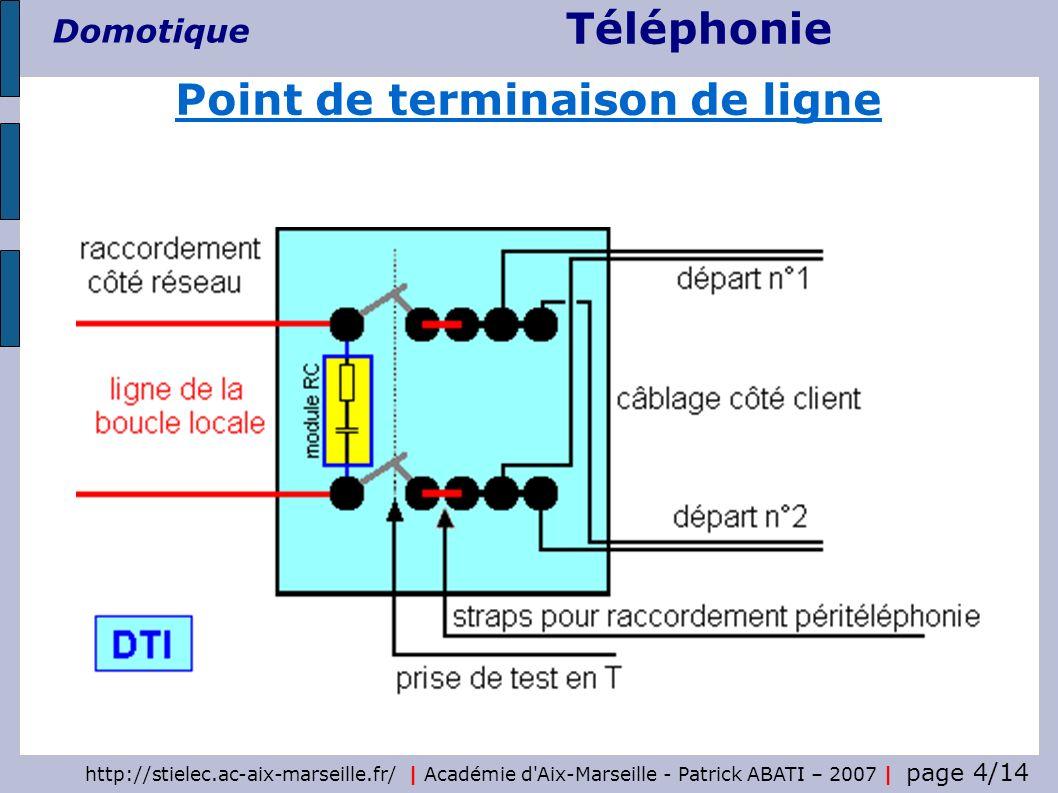 Téléphonie Domotique http://stielec.ac-aix-marseille.fr/ | Académie d Aix-Marseille - Patrick ABATI – 2007 | page 5/14 prise femelle fiche mâle module RC le module RC est intégré à la prise en T du DTI Prise en T