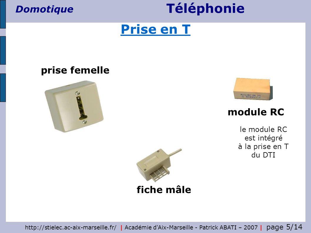 Téléphonie Domotique http://stielec.ac-aix-marseille.fr/ | Académie d Aix-Marseille - Patrick ABATI – 2007 | page 6/14 Câblage d une prise en T