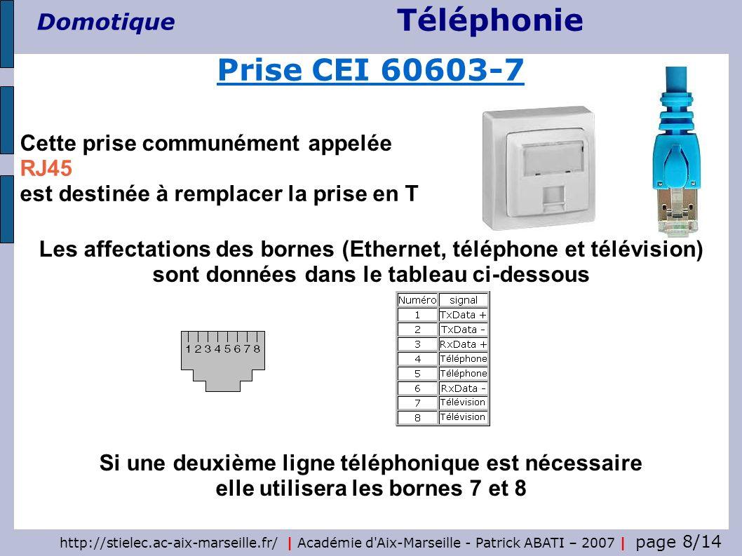 Téléphonie Domotique http://stielec.ac-aix-marseille.fr/ | Académie d Aix-Marseille - Patrick ABATI – 2007 | page 9/14 Le câblage des installations terminales est réalisé en étoile, à partir du répartiteur Chaque branche d une longueur maximale de 90 m dessert une seule prise terminale Câblage d une installation intérieure